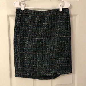 Teal/black/tan skirt